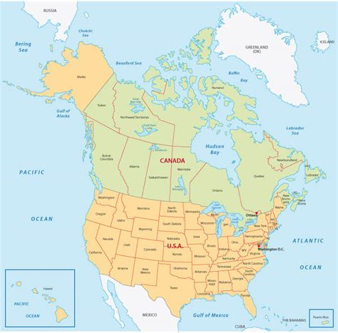 map usa canada border states canada map guide of the world