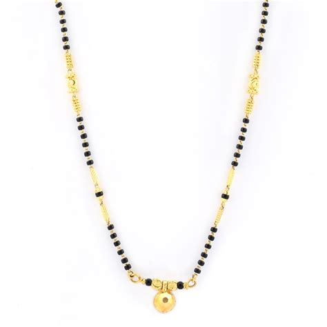 design collection gold metal bead necklace mangalsutra black necklace grt jewellers