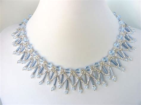 necklace pattern pinterest free beading pattern for lovely ice blue crystal necklace