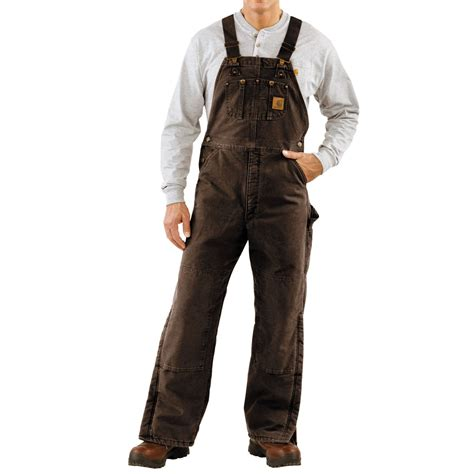 carhartt quilt lined bib overalls for