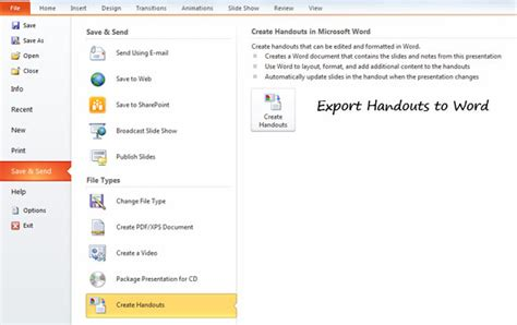 export powerpoint outline to a microsoft word document