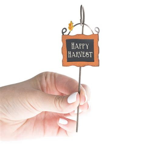miniature happy harvest sign  holder fairy garden