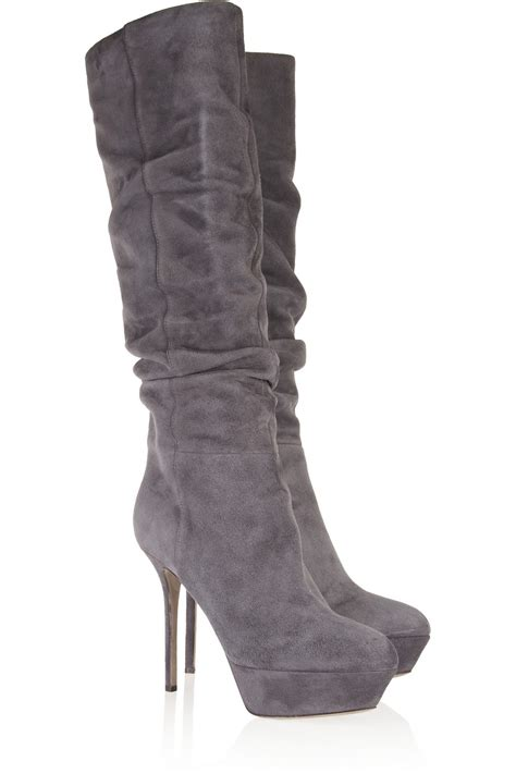 sergio ruched suede knee high boots in gray