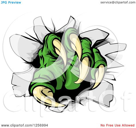 clipart of green monster claw breaking through a wall