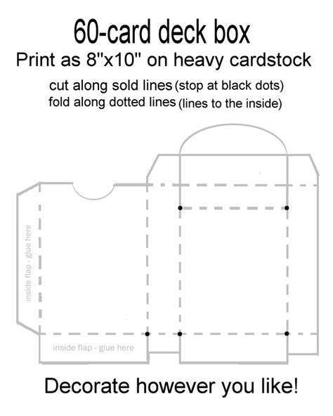 deck box card deck and box templates on pinterest