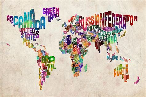 the art of worldly text map of the world digital art by michael tompsett