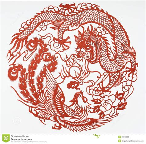 paper cut of dragon and phoenix stock photo image 28876330