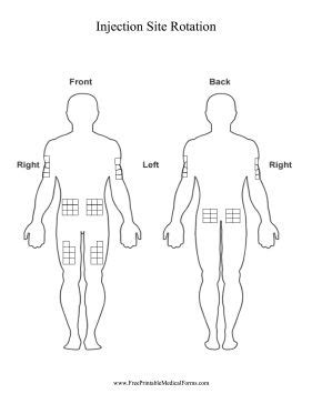 Use This Printable Chart Of The Human Body To Track Injection Sites On The Arms Buttocks And Insulin Site Rotation Template