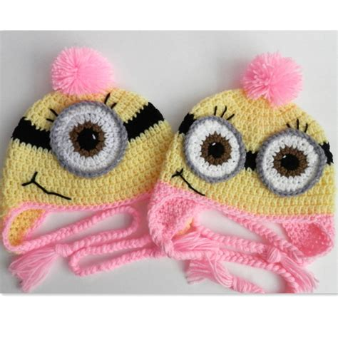novelty knitted baby hats novelty pink minion hat handmade knit crochet baby gril