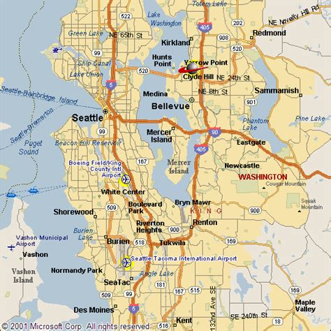 seattle road map road map of seattle downtown seattle washington