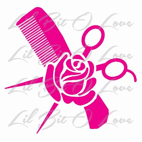 hair stylist comb scissors and vinyl decal cosmetology sticker