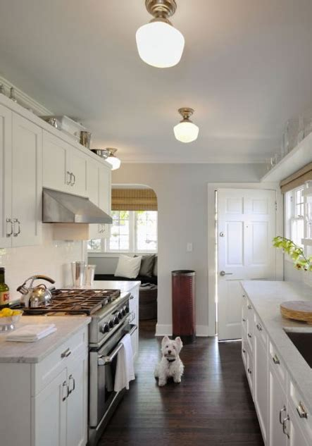 White Galley Kitchen Designs White Blue Gray Galley Kitchen Design With Soft Blue Gray Walls Paint Color White Shaker