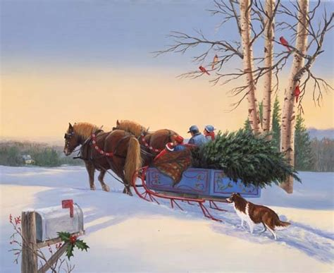 sleigh carrying a christmas tree christmas photo