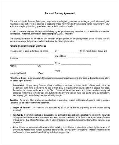 Sle Training Agreement Forms 10 Free Documents In Word Pdf Personal Agreement Contract Template