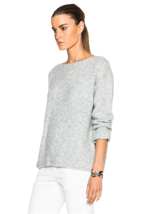 Boxie Sweter lyst nili lotan ballet neck boxy sweater in gray