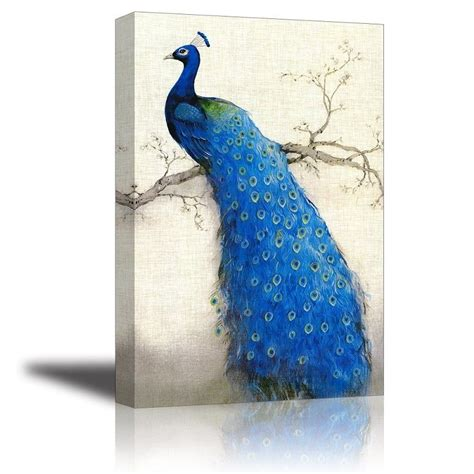 hanging prints peacock tree canvas prints oil painting wall art hanging