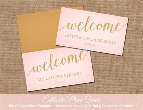 place cards blush pink and gold wedding place cards printable place