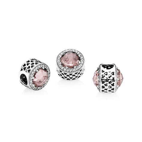 Blush Pink PANDORA Radiant Hearts Silver Charm   PANDORA eSTORE