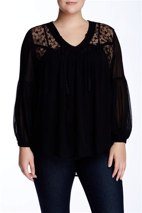 Wn Blouse 14th union sheer lace yoke blouse plus size nordstrom rack