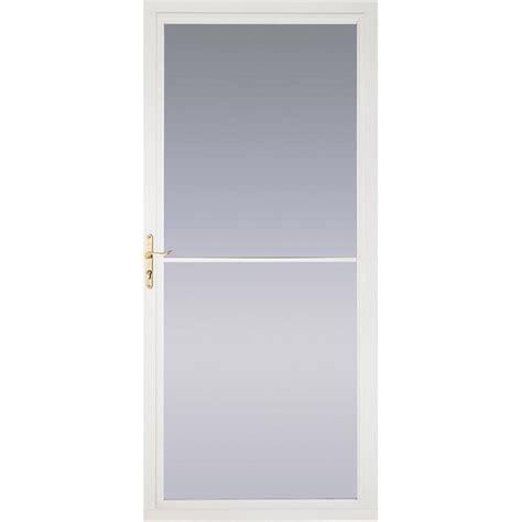 Pella Retractable Screen Door | shop pella montgomery white full view safety aluminum