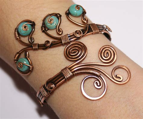 Handmade Wire Jewelry - statement bracelet adjustable handmade teal blue wire wrapped