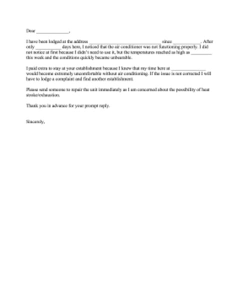 Complaint Letter Sle For Ac Not Working Air Conditioner Complaint Letter