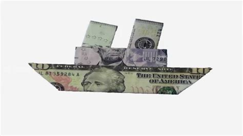 Origami Cruise Ship - how to fold an easy to fold money origami ship design