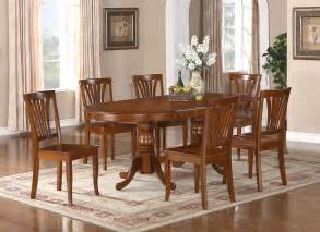 Dining Room Table With 6 Chairs 7pc Oval Newton Dining Room Set With Extension Leaf Table