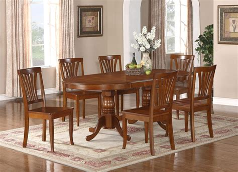 7pc Oval Newton Dining Room Set With Extension Leaf Table Oval Dining Room Table Sets