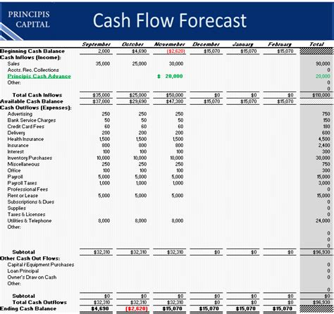 sle projected cash flow business plan best photos of exle of cash flow projection forecast