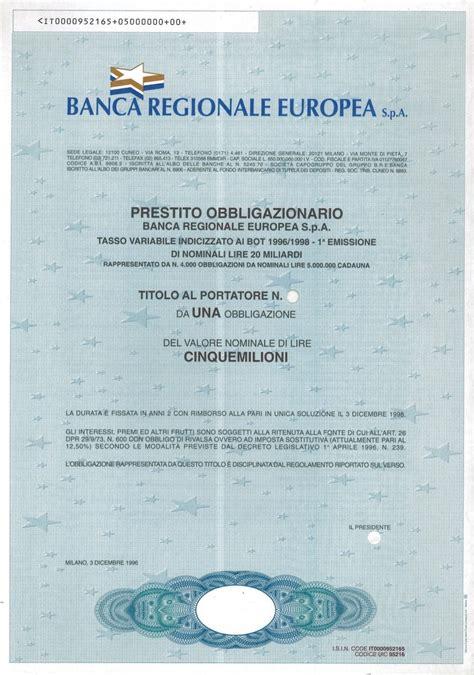 Banca Regionale Europea by Banca Regionale Europea S P A Titolo Finanziario