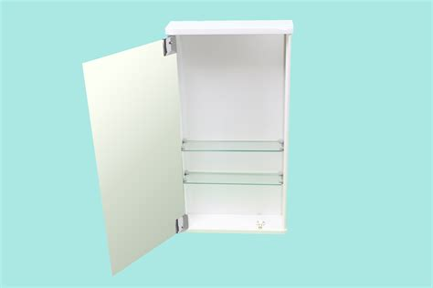 bathroom wall mirror storage cabinet slimline gloss white