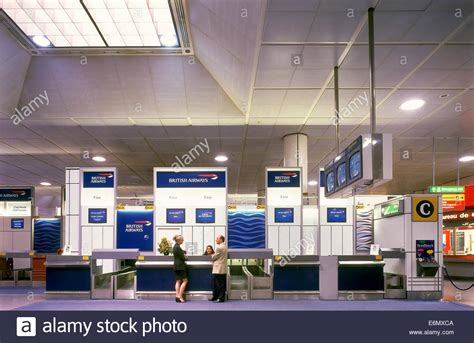 british airways check in desk at gatwick airport stock