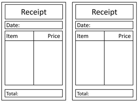 printable school receipt general role play receipt by claireh1039 teaching