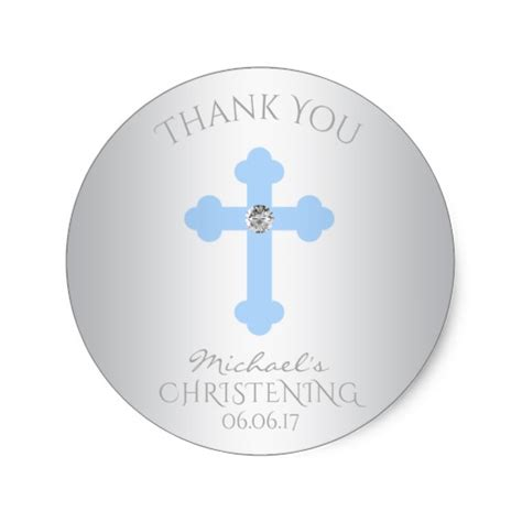 Baptism Thank You Stickers baby blue cross baptism christening boy thank you