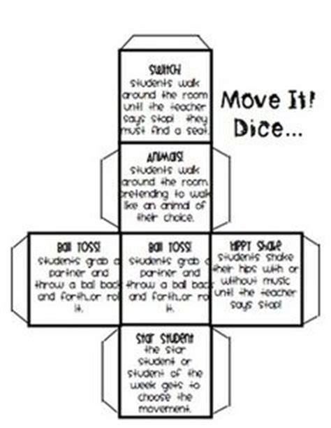 printable exercise dice 1000 images about classroom brain breaks on pinterest