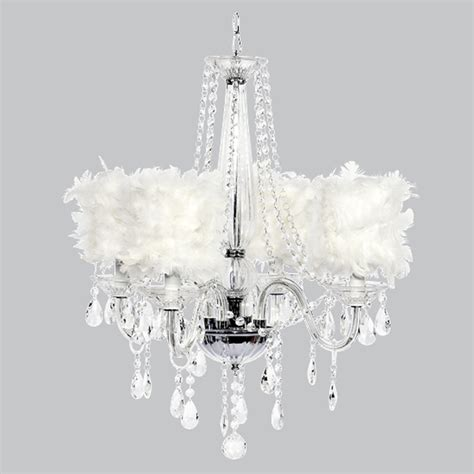 White Chandelier With Shades Four Arm Middleton Glass Chandelier With White Feather Shades