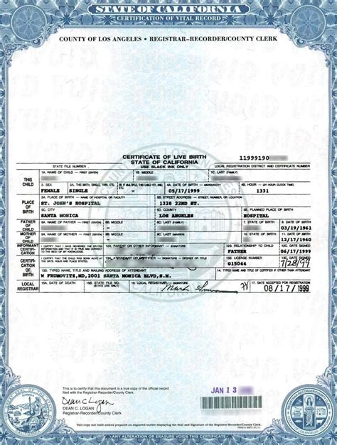 Los Angeles Birth Records Click On Photo To See Image A Ca Birth Certificate