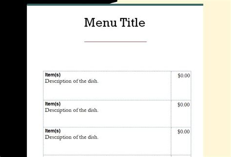 menu template word word menu templates
