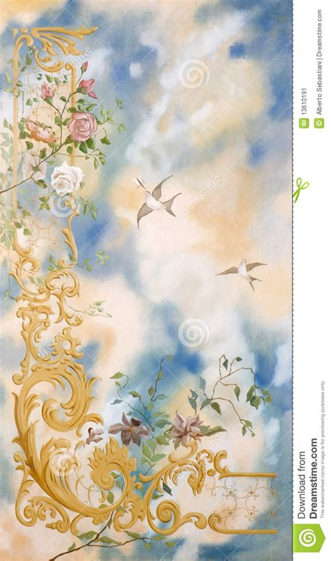 acrylic painting birds in sky sky birds and flowers decorative painting stock image