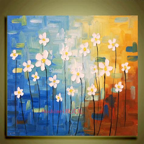 Satu Set Lukissan Kanfas painted painting abstract knife flower painting home decoration pictures mural canvas