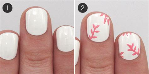 easy nail art white base pink floral and glitter nail art for spring more com