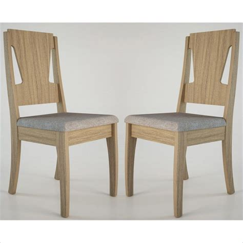 comfort dining chairs manhattan comfort 101607 dining chair in walnut and grey fabric set of 2