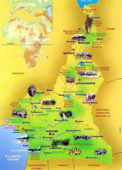 yaounde africa map detailed tourist map of cameroon cameroon africa