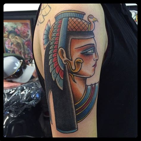 new school egyptian tattoo old school egypt traditional colored woman portrait tattoo