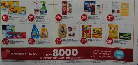 Canadian Gift Cards - shoppers drug mart canada get 8000 points when you spend 200 or more on two or more
