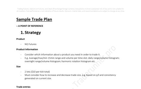 options trading plan template sle futures trading plan
