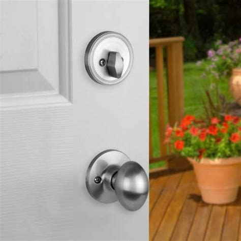 Front Door Knob Set by Front Door Entry Set Lock Satin Nickel With Egg Knob