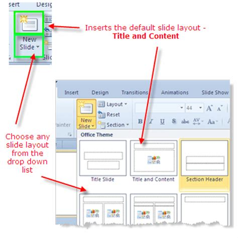 layout button powerpoint how to use powerpoint 2010 slide layouts