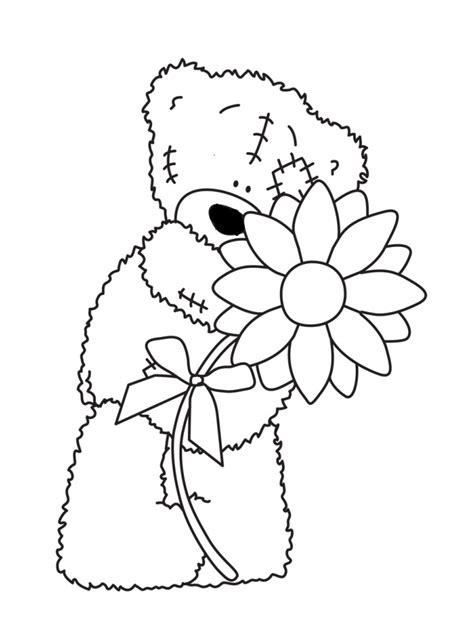 teddy bear with flower coloring page teddy bear holding flowers teddy bears pinterest